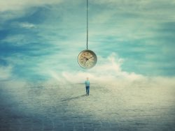 A person walks across a square, a clock floats above him, surrounded by clouds.